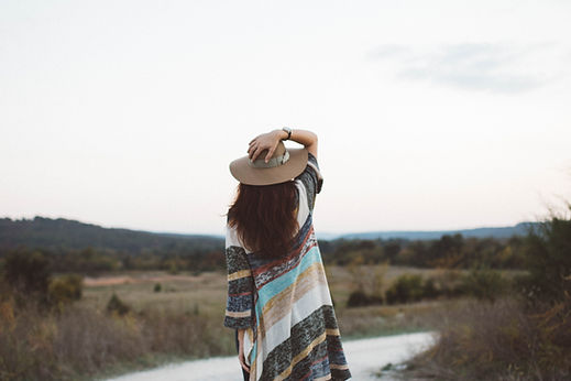 woman desert hat stripes nature