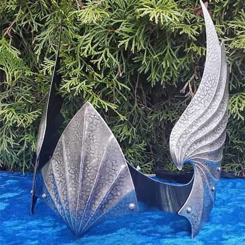 Wing Crown Single Shield - Silver Blue