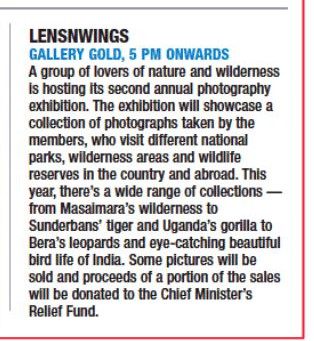 Calcutta Times coverage of 2nd Annual Photography Exhibition