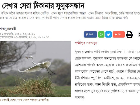 ABP Bengali published one of our members Santanu Chakraborty's Birding Trip Reports
