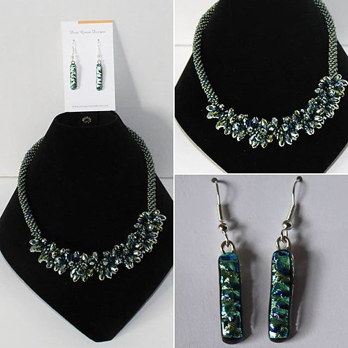Blue-green twisted chrome necklace & earring set