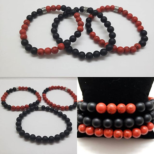 Men's Black Onyx bracelet set (set of 3)