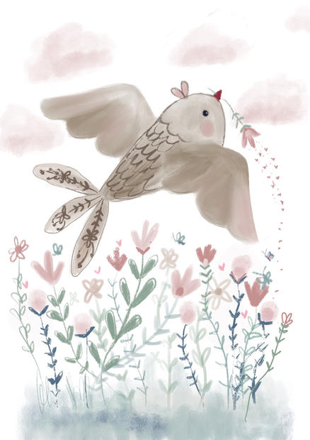 bird with pink fluffly clouds