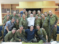 Rav Elyakim Levanon with soldiers from Elon Moreh