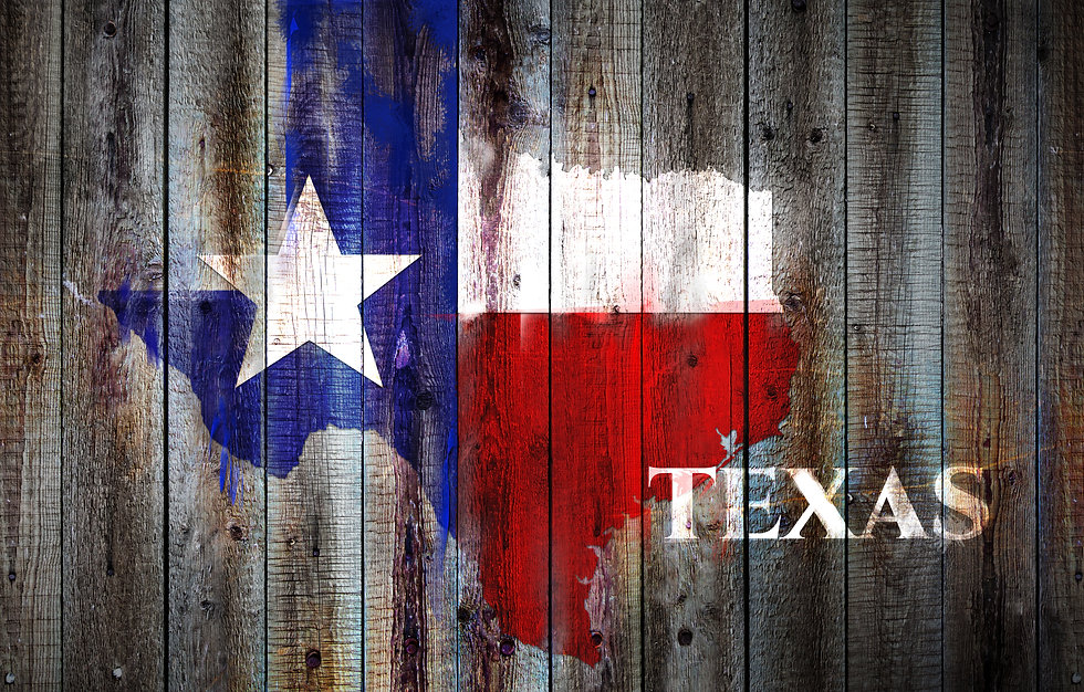 Texas flag and map on old wood plank bac