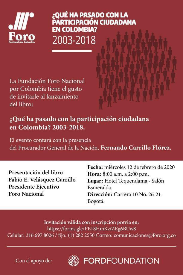 Presentación del libro: ¿Qué ha pasado con la participación ciudadana en Colombia 2003-2018?