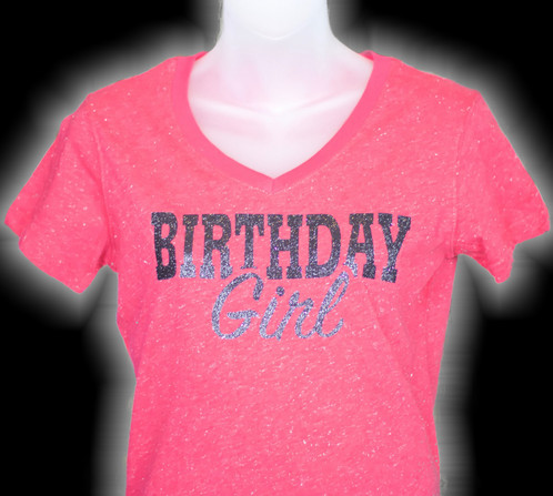 Pink Glitter Birthday Girl | birthday glitz t-shirts