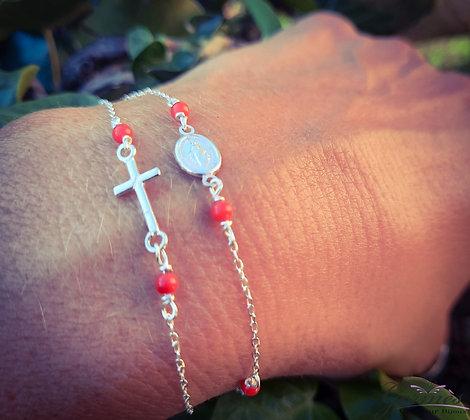 Bracelet double miraculeuse et croix