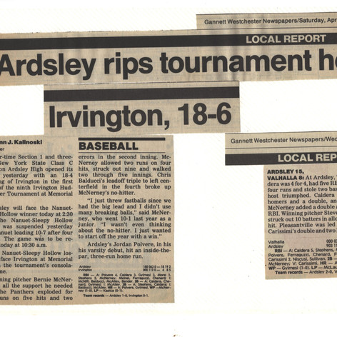Newspaper clipping from opening games of the 1989 season.