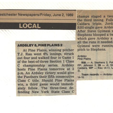 Newspaper clipping after Game 1 of of the section finals vs. Pine Plains.