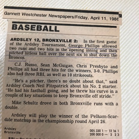 Newspaper clipping after defeating Bronxville in the first game of the Ardsley Tournament.
