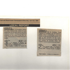Newspaper clipping from the 5th & 6th game of the 1989 season