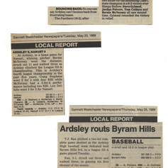 Late May games newspaper clippings.