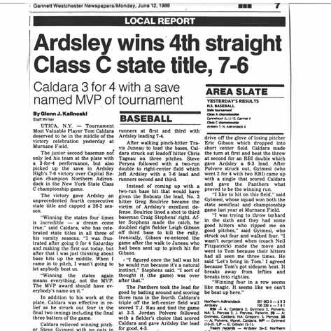 Newspaper clipping after the 4th consecutive state championship.