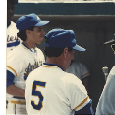 Coach Fitzpatrick being interviewed on field after 1988 championship