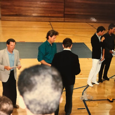 Coach Fitzpatrick handing out awards with Coach Calicone in 1988.