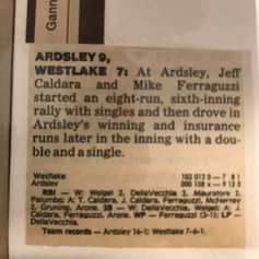 Newspaper clipping from 16th win of the year over Westlake.