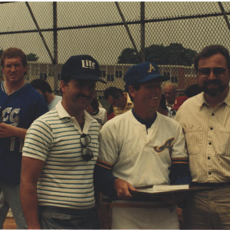 Coach with his brother Brain and assistant principal Charles DeStefano at 1987 parade.
