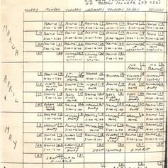 Coach Fitzpatrick's handmade 1988 schedule.