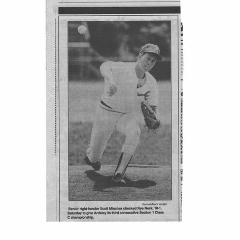Scott Minchak on the mound vs. Rye Neck in the 1987 Sectional finals.