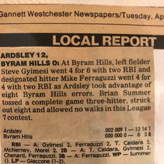 Newspaper clipping from 11th win of season vs. Byram Hills.