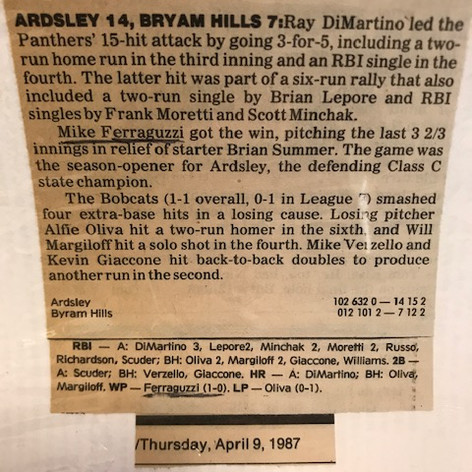 Newspaper clipping from opening day victory over Byram Hills