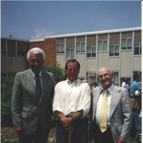 Coach Fitzpatrick and his former high school coaches Jack Carey and Dave Curran at his field dedication ceremony.
