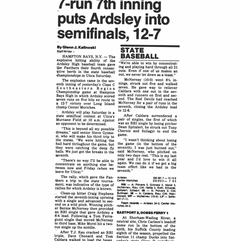 June 7th, 1989 newspaper clipping after Regional final win over Center Moriches.