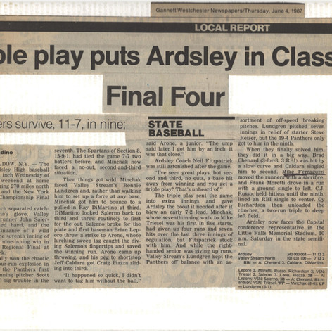 Newspapr clipping after triple play and Regional championship victory over Valley Stream North.