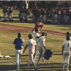 Gatorade buckets being dumped during on field celebration after winning 1987 championship.