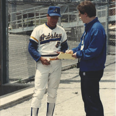 Coach Fitzpatrick being interviewed at Murnane Field in 1988
