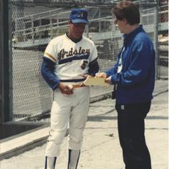 Coach Fitzpatrick being interviewed at Murnane Field in 1988