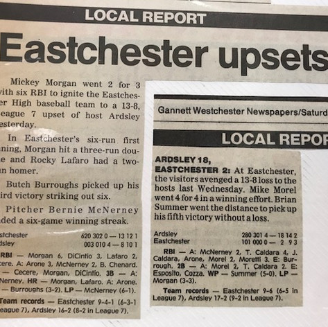 Newspaper clippings from the two regular season games with eastchester (one loss and one win).