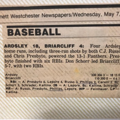 Newspaper clipping after beating Briarcliff 18-4.