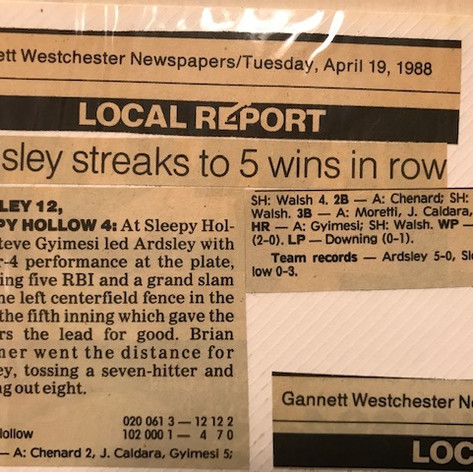 Newspaper article after 5th win of the season over Sleepy Hollow.
