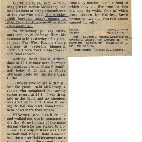 Newspaper article after semi-final victory over Lansing