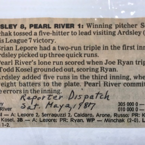 Newspaper clipping after defeating Pearl River for 8th win of season.