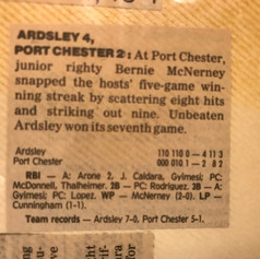 Newspaper clipping after defeating Class B section champs Port Chester.