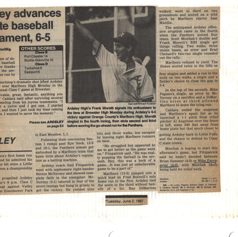 Newspaper clipping after walk-off victory over Marlboro in the Regional final game.