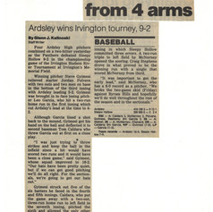 Newspaper clipping after defeating Sleepy Hollow in the Irvington Tournament final.