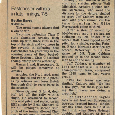 Newspaper clipping after the opening game of the best two-out-of-three sectional final series vs. Eastchester.