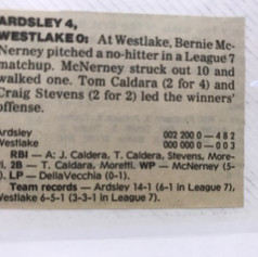 Newspaper clipping after Bernie McNerney's no-hitter vs. Westlake.