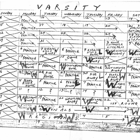 Season schedule Coach Fitzpatrick handed out to players prior to the season.
