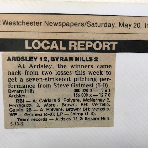Newspaper clipping after victory over Byram Hills