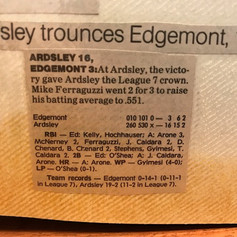 Newspaper clipping from final game of season vs. Edgemont.