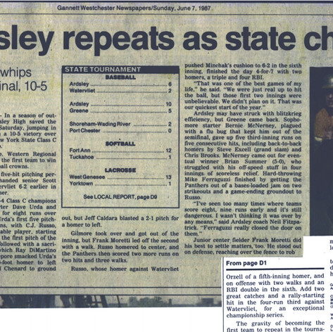 Newspaper clipping after championship weekend 1987.