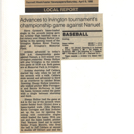 Newspaper clipping after opening game of the Irvington Tournament.