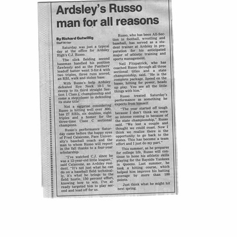 Newpaper clipping featuring C.J. Russo prior to the 1987 Regional games.