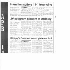 JV baseball article from '87