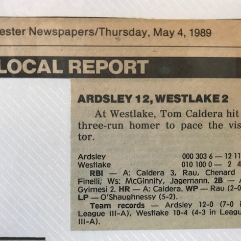 Newspaper clipping after 12th win of the season vs. Westlake.